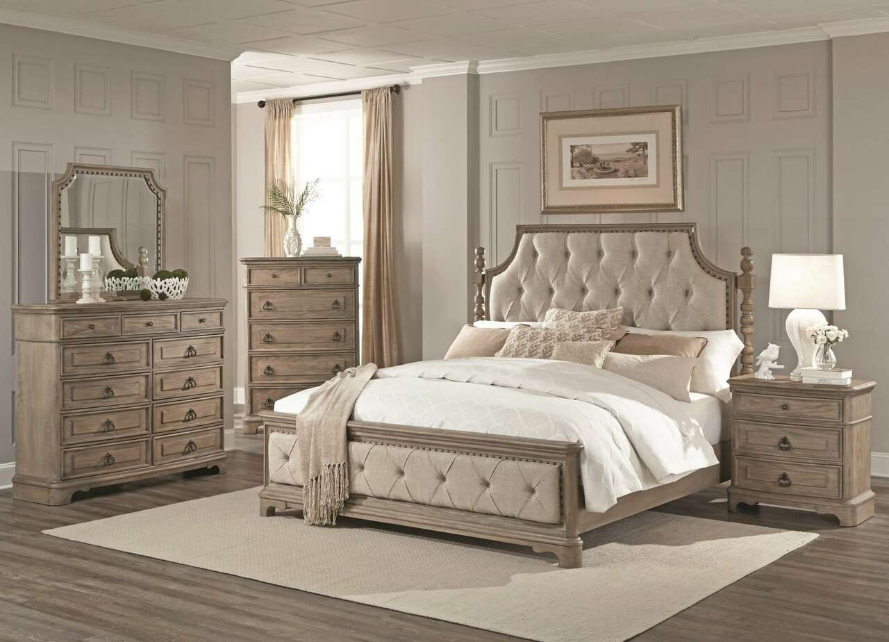 Grande White Wash King Bedroom Set