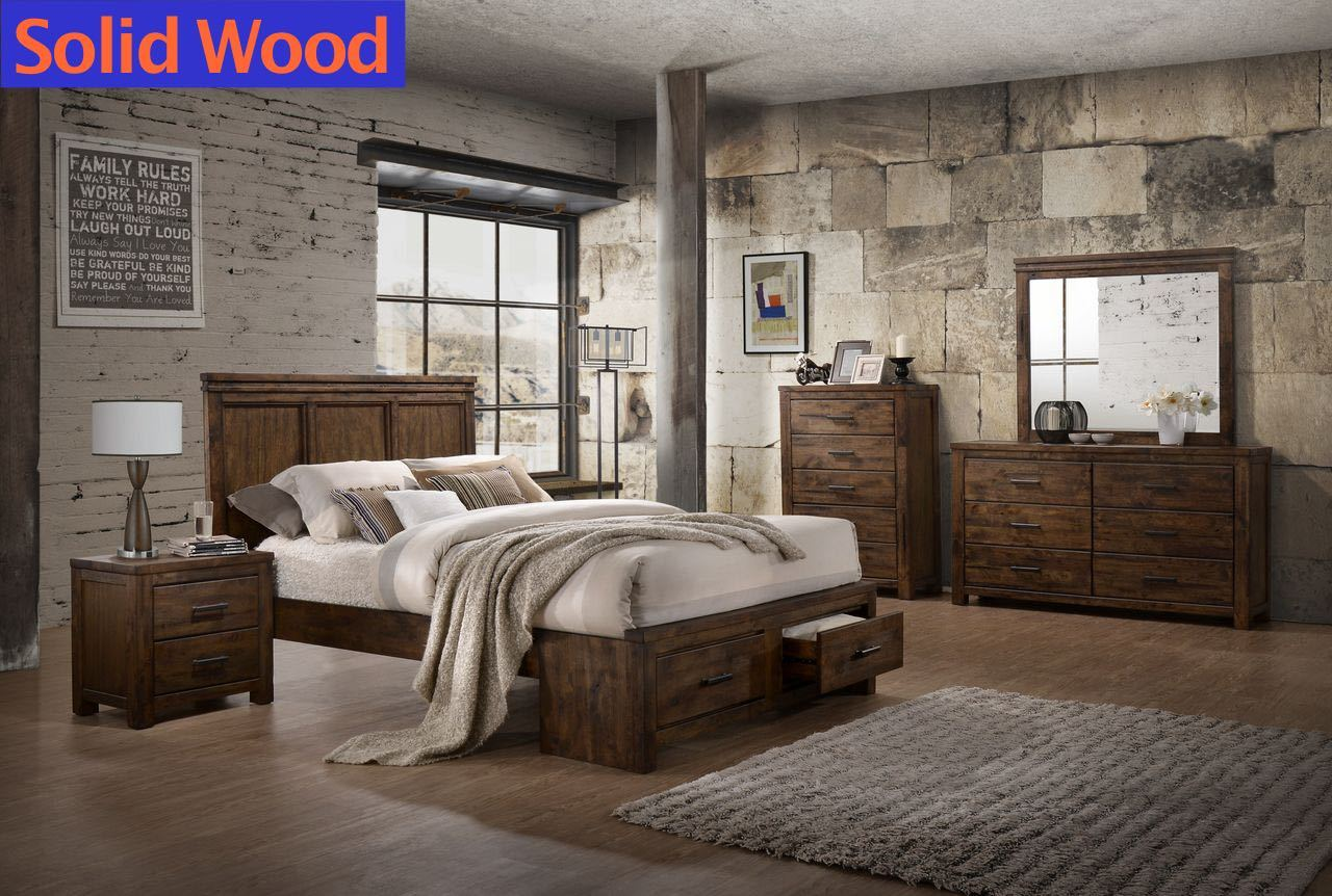 Solid Wood Storage Bedroom Set by Lifestyle Furniture