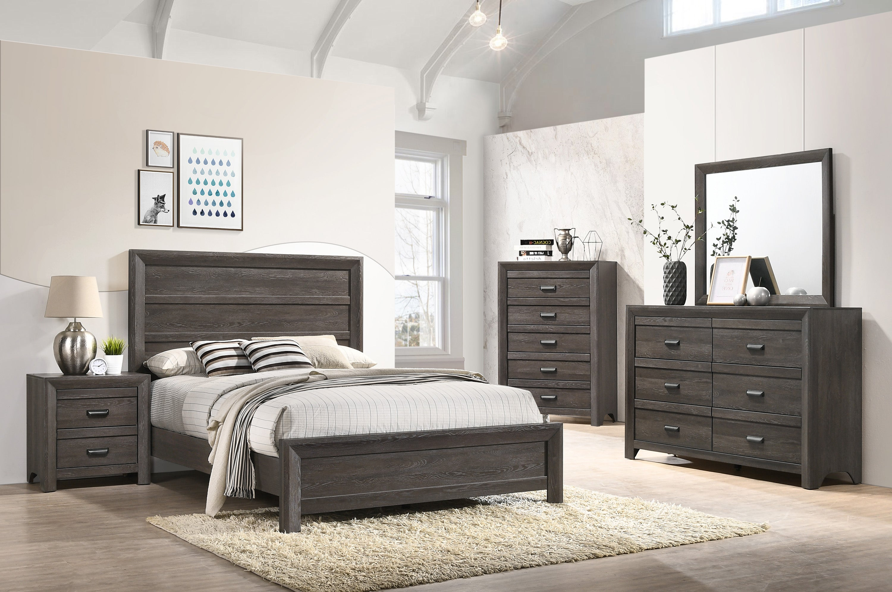 Dark Gray Panel Full Bedroom Set My Furniture Place