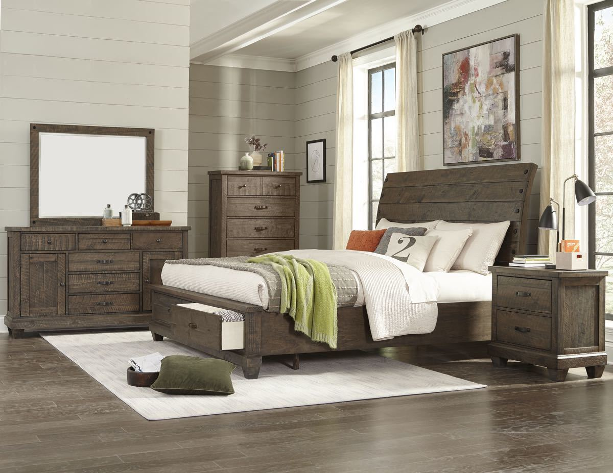 Brown Pine Saw King Bedroom Set