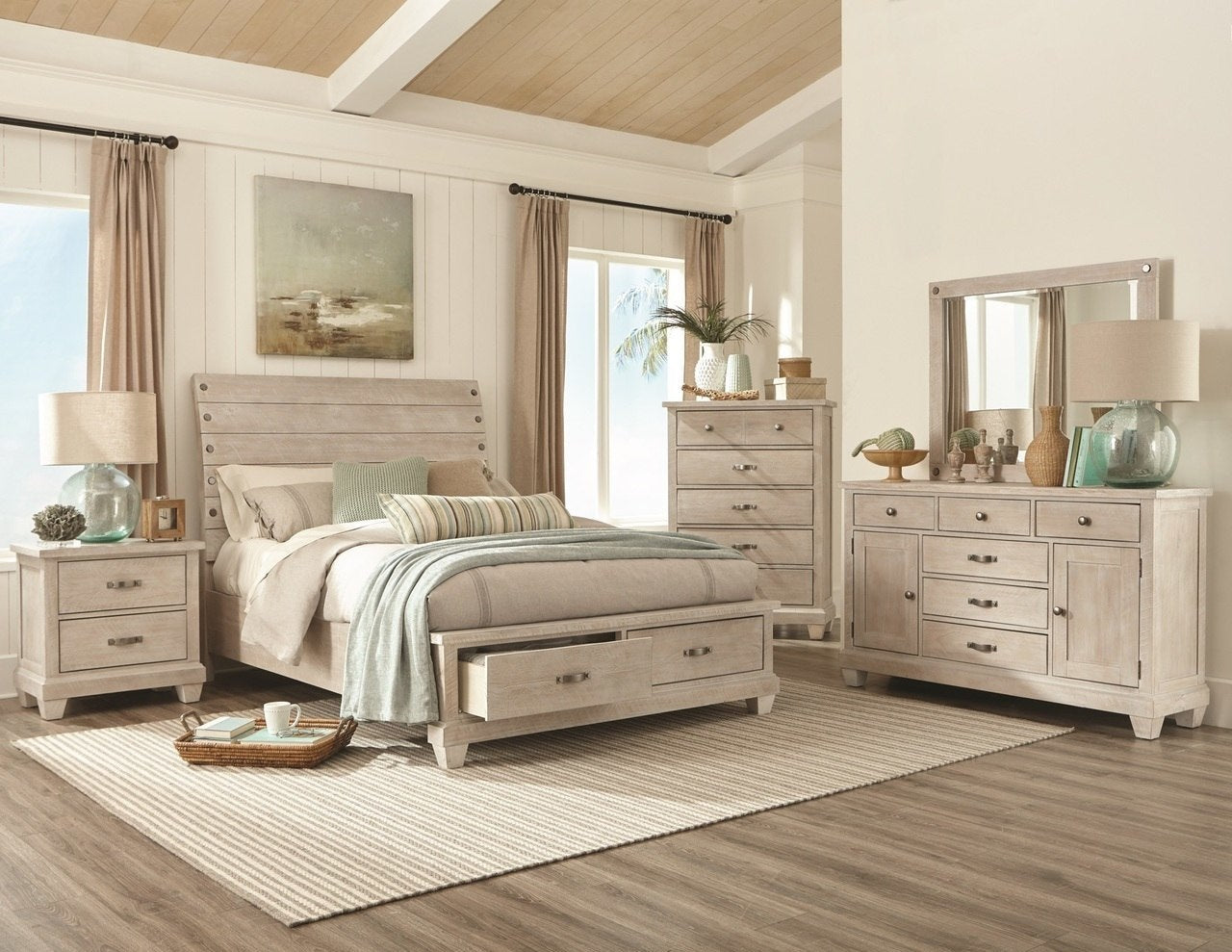 White Wash Country Queen Bedroom Set