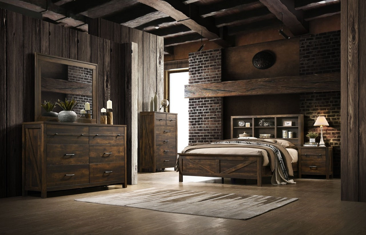 Rustic Bookcase Queen Bedroom Set