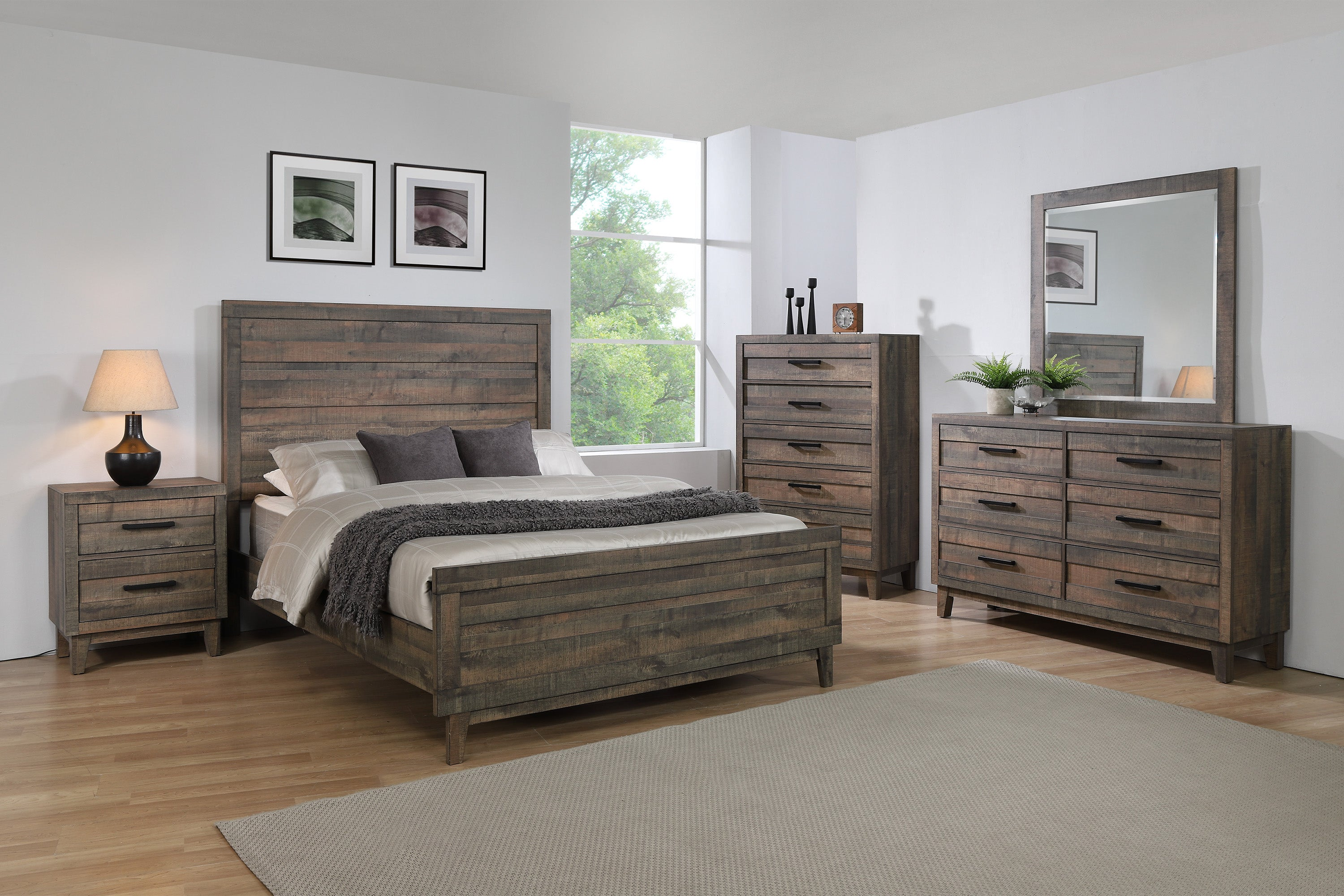 rustic plank leg king bedroom set