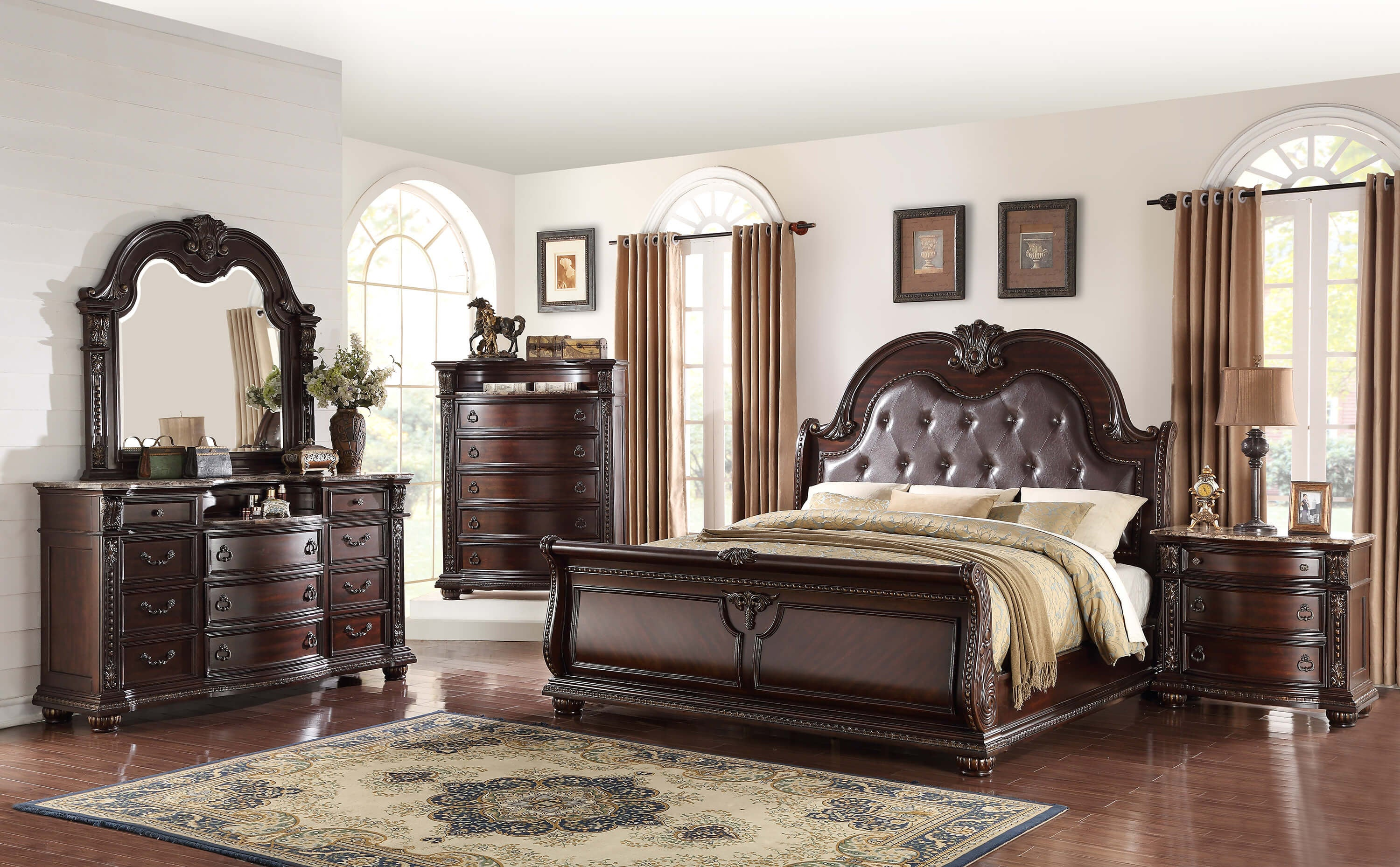 stanley sleigh marble king bedroom set my furniture place 10824 | cmeb1600 1 3ada8a3a 25d1 4f07 b30e ad0f561f936f v 1500675994