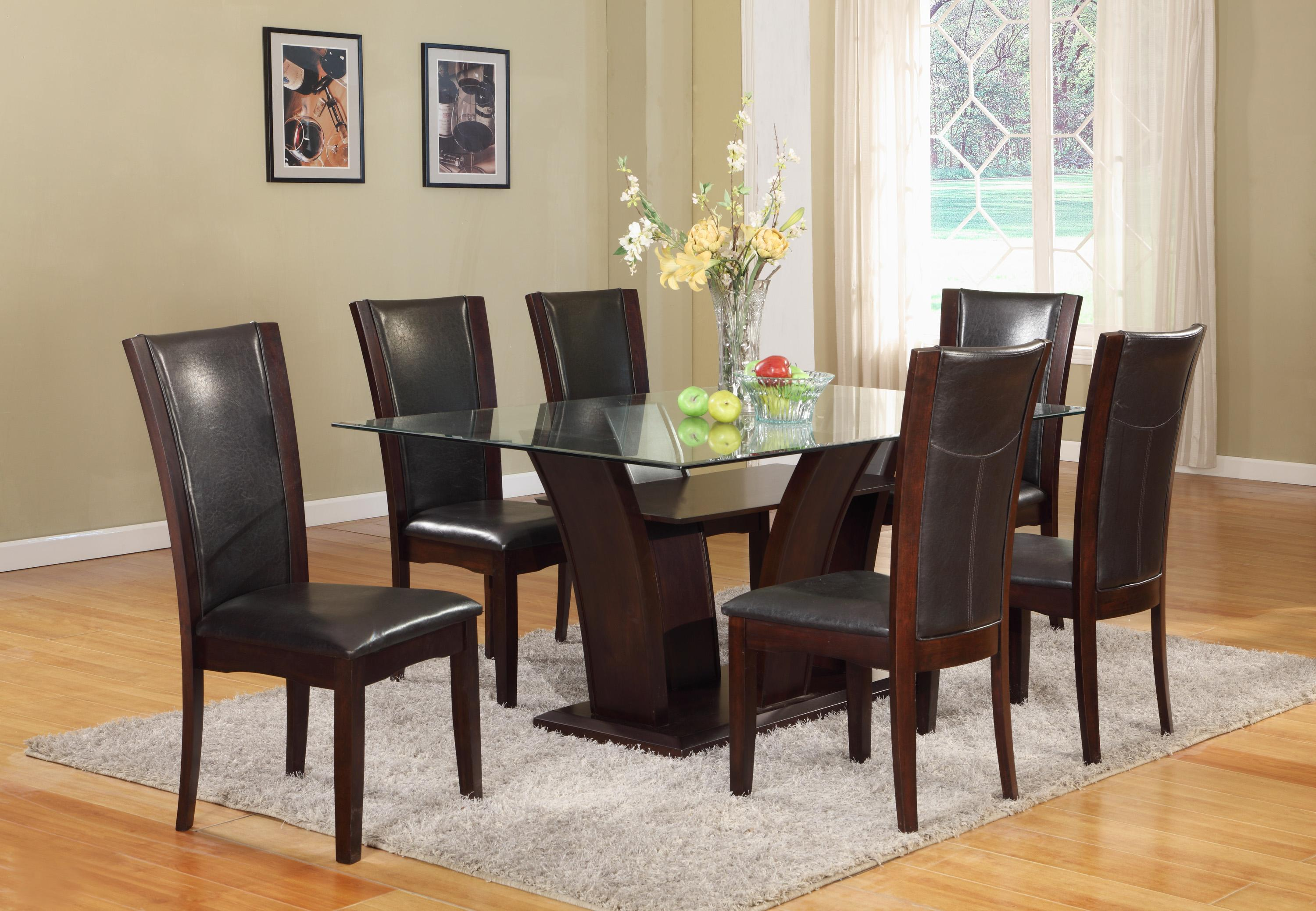 Camelia Espresso Glass Top Dining Set