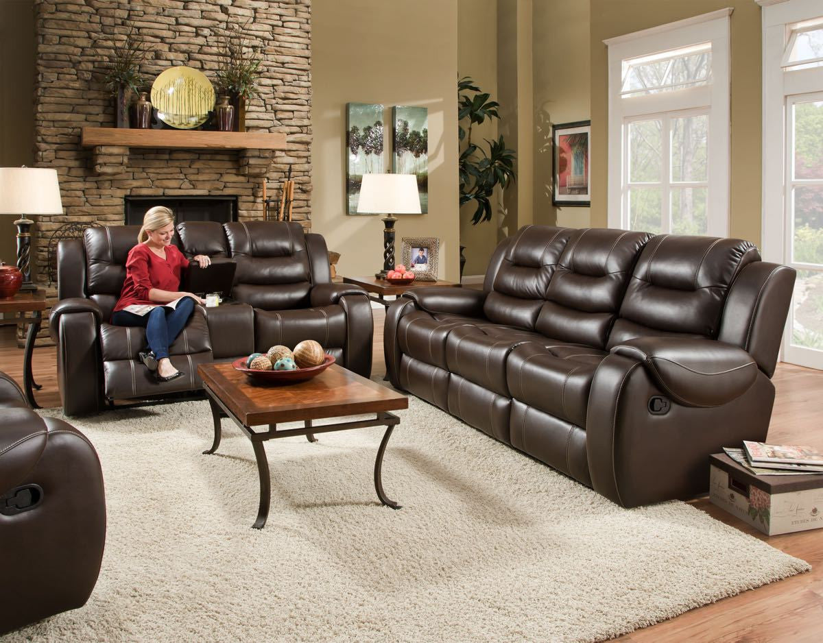 Corinthian Jamestown Umber Reclining Sofa and Loveseat , reclining sofa and loveseat - Corinthian Furniture, My Furniture Place