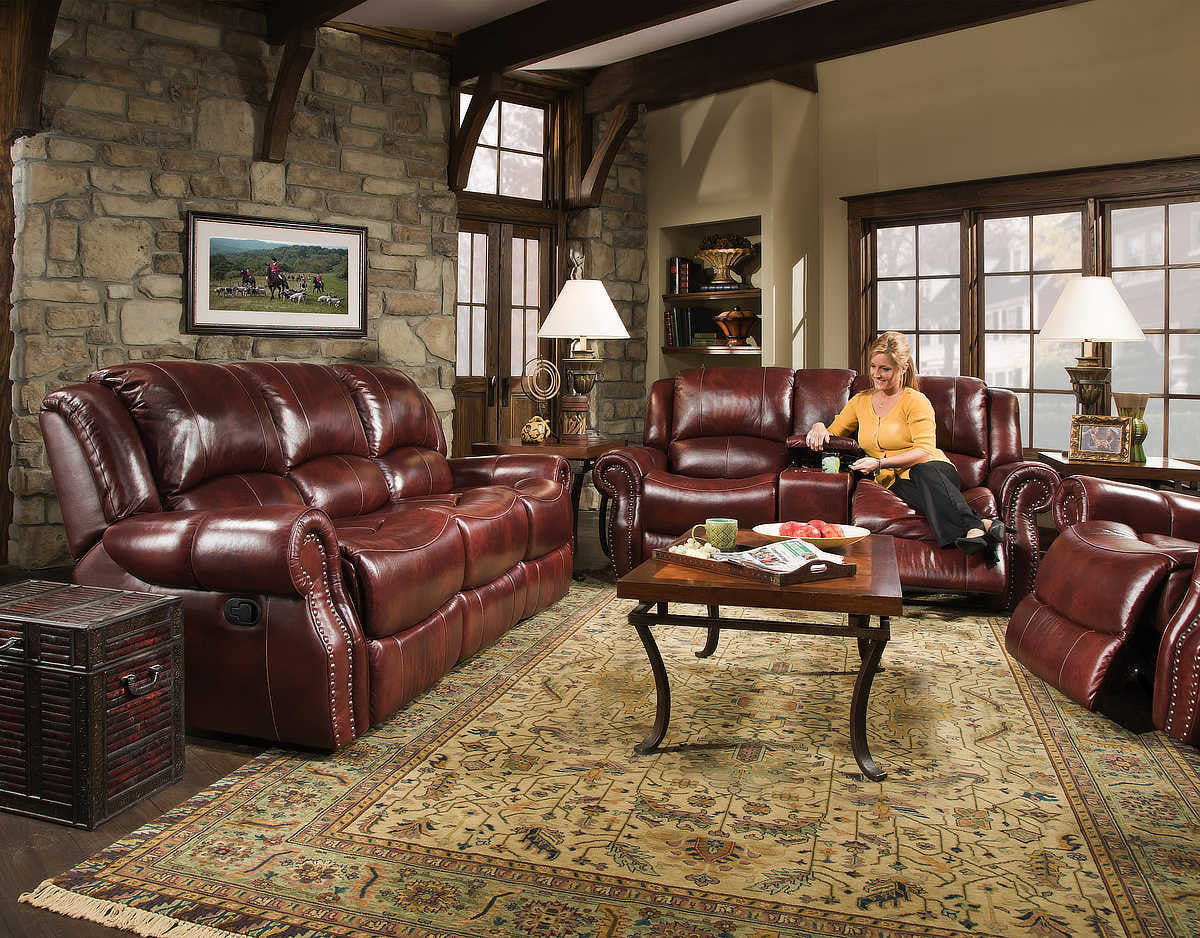 Italian Leather Softie Oxblood Glider Reclining Sofa and Loveseat , reclining sofa and loveseat - Corinthian Furniture, My Furniture Place