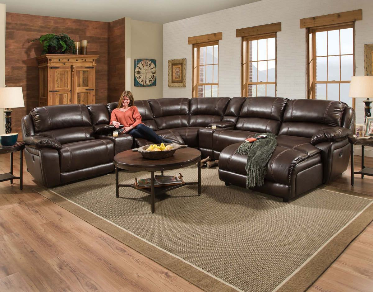 Corinthian Faulkner Chocolate Chaise Sectional , sectionals - Corinthian Furniture, My Furniture Place