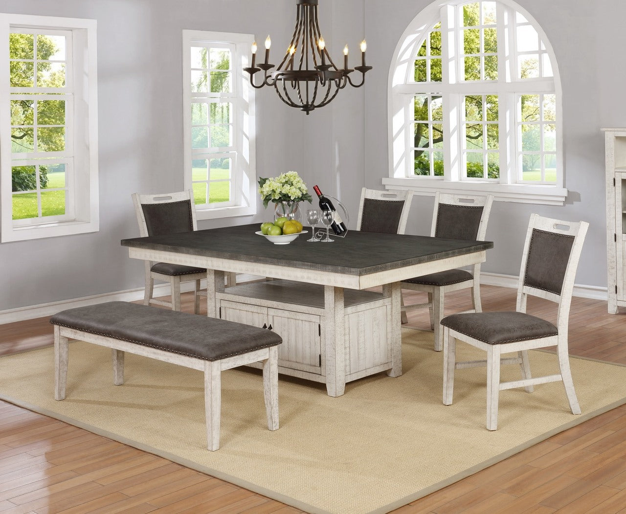 Rubbed White and Gray Dining Set
