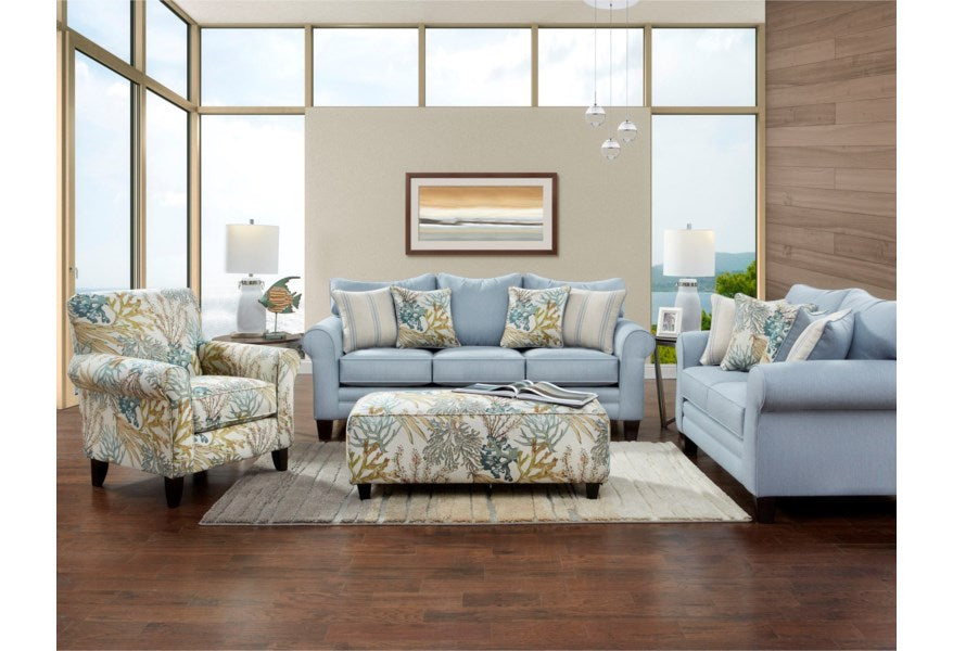 Labyrinth Sky Sofa and Loveseat