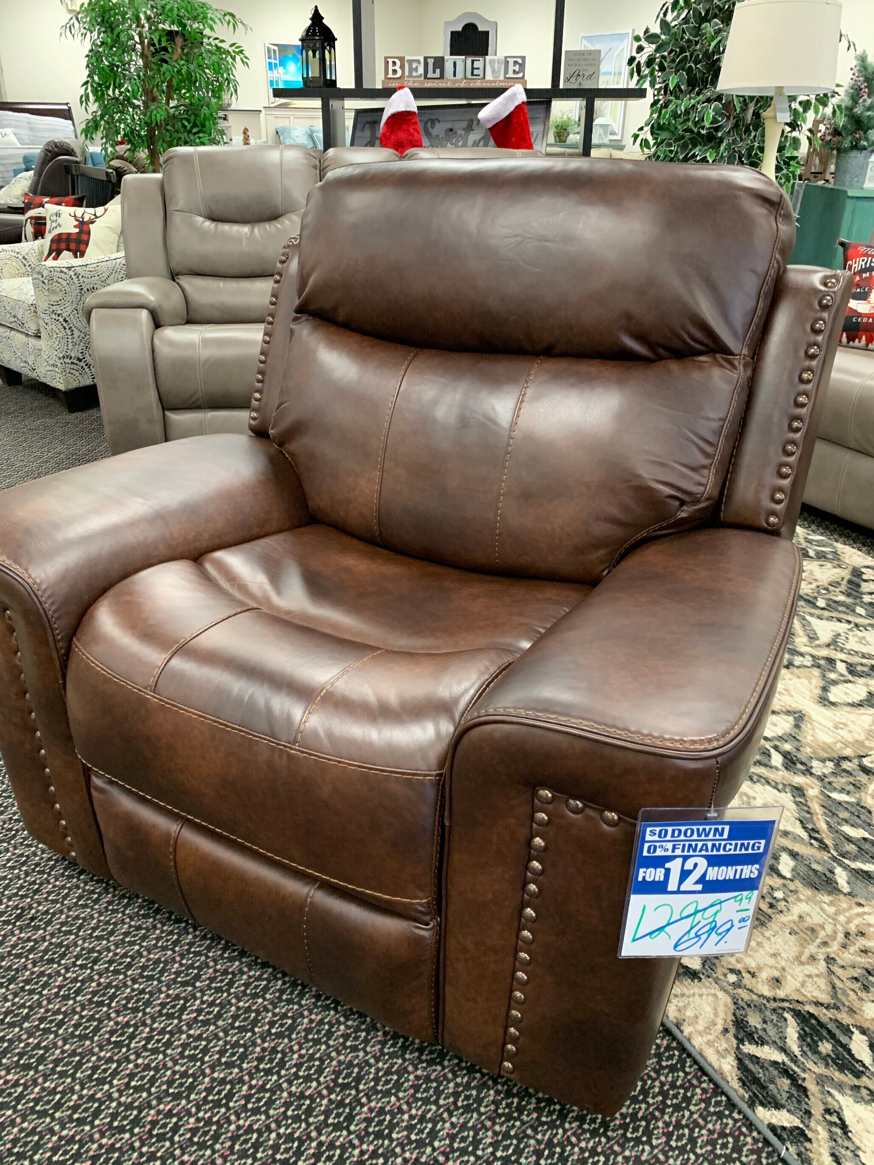 Italian Leather Softie Driftwood Recliner
