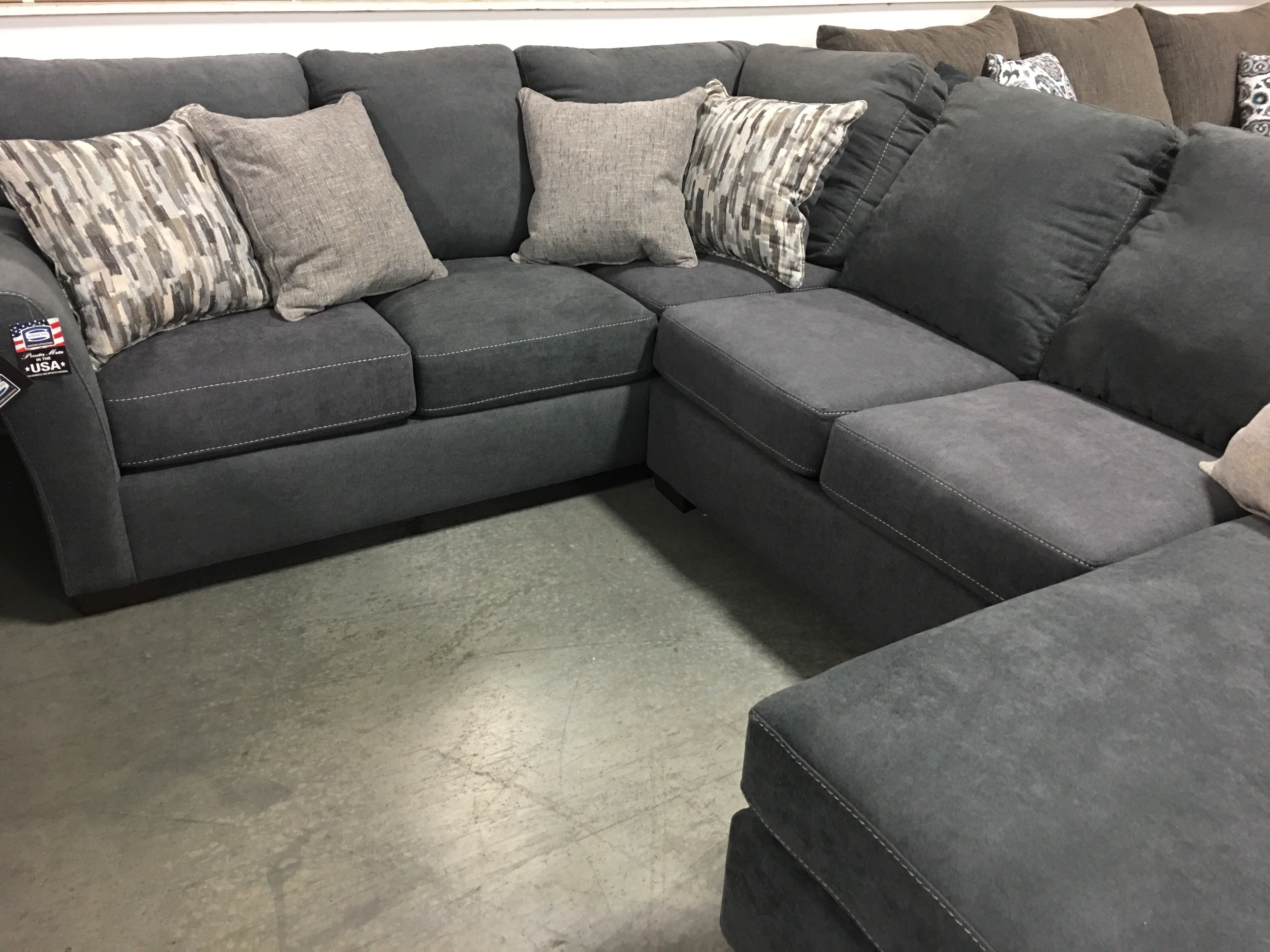 Picture of: Pacific Steel Blue Sectional My Furniture Place