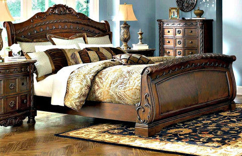 north shore sleigh king bedroom set by ashley furniture my furniture place. Black Bedroom Furniture Sets. Home Design Ideas