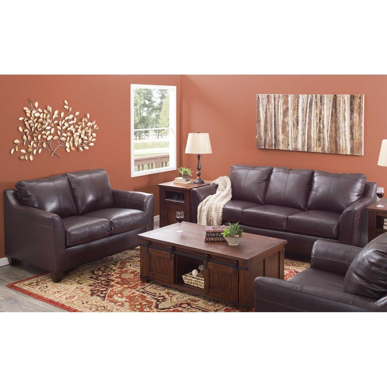 Lane Bark Leather Sofa and Loveseat