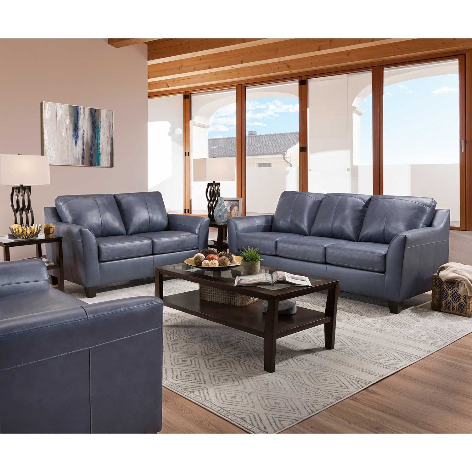 Lane Shale Blue Leather Sofa and Loveseat