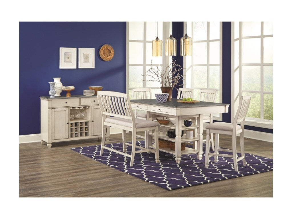 Milk White and Gray Counter Dining Set