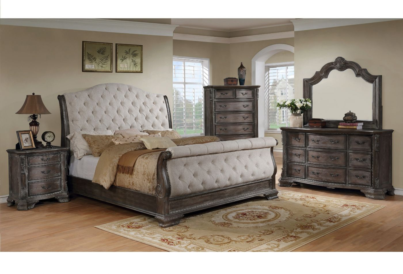 Upholstered Gray Sleigh Queen Bedroom Set