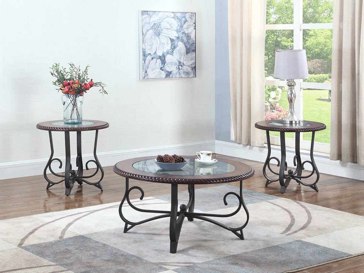 Round Cherry & Glass Coffee Table Set