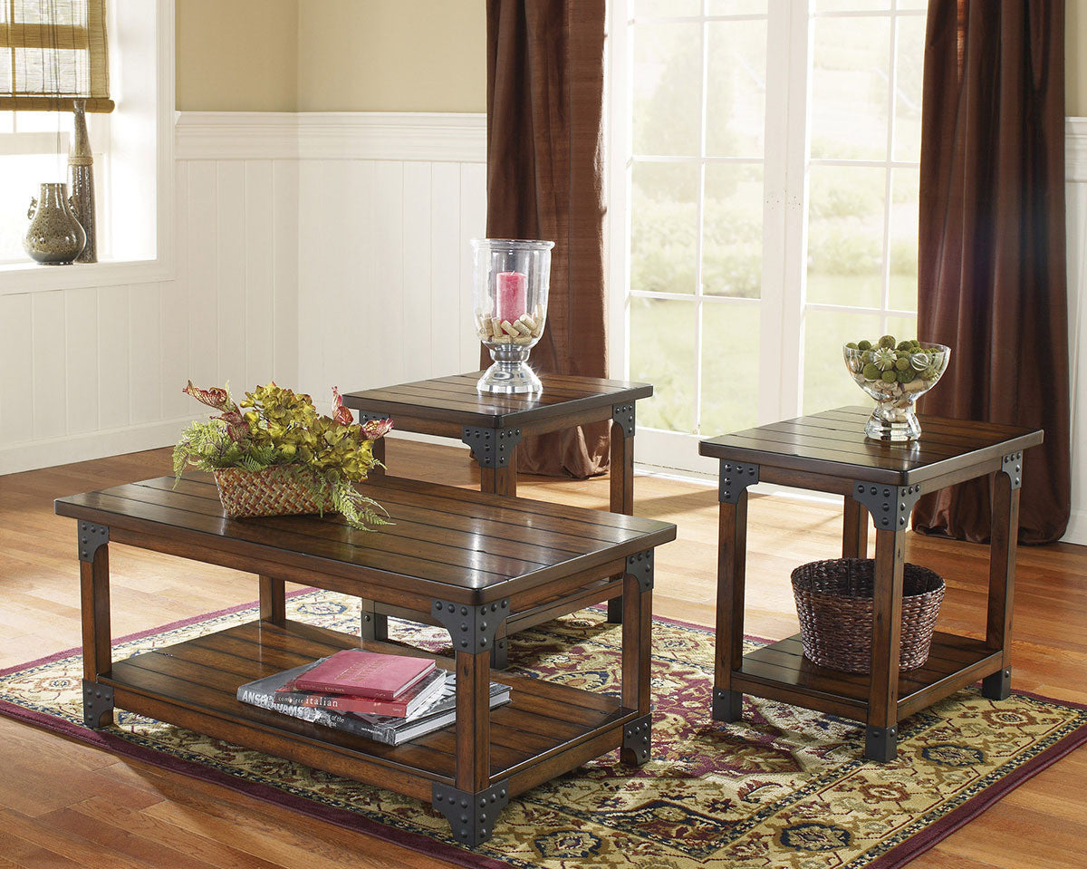Picture of: Murphy Wood Metal Coffee Table Set By Ashley Furniture My Furniture Place