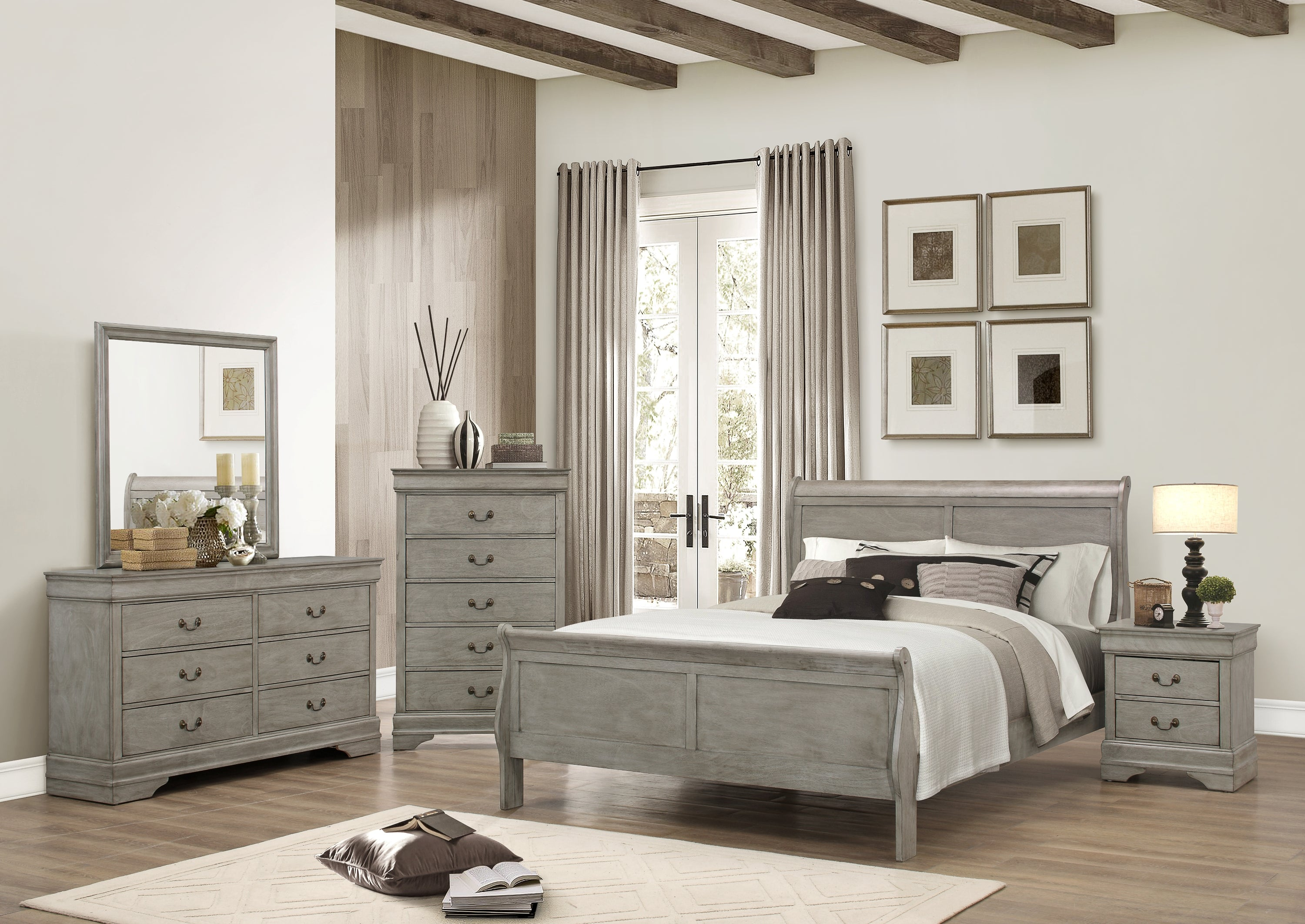 Gray Twin Sleigh Bedroom Set My Furniture Place
