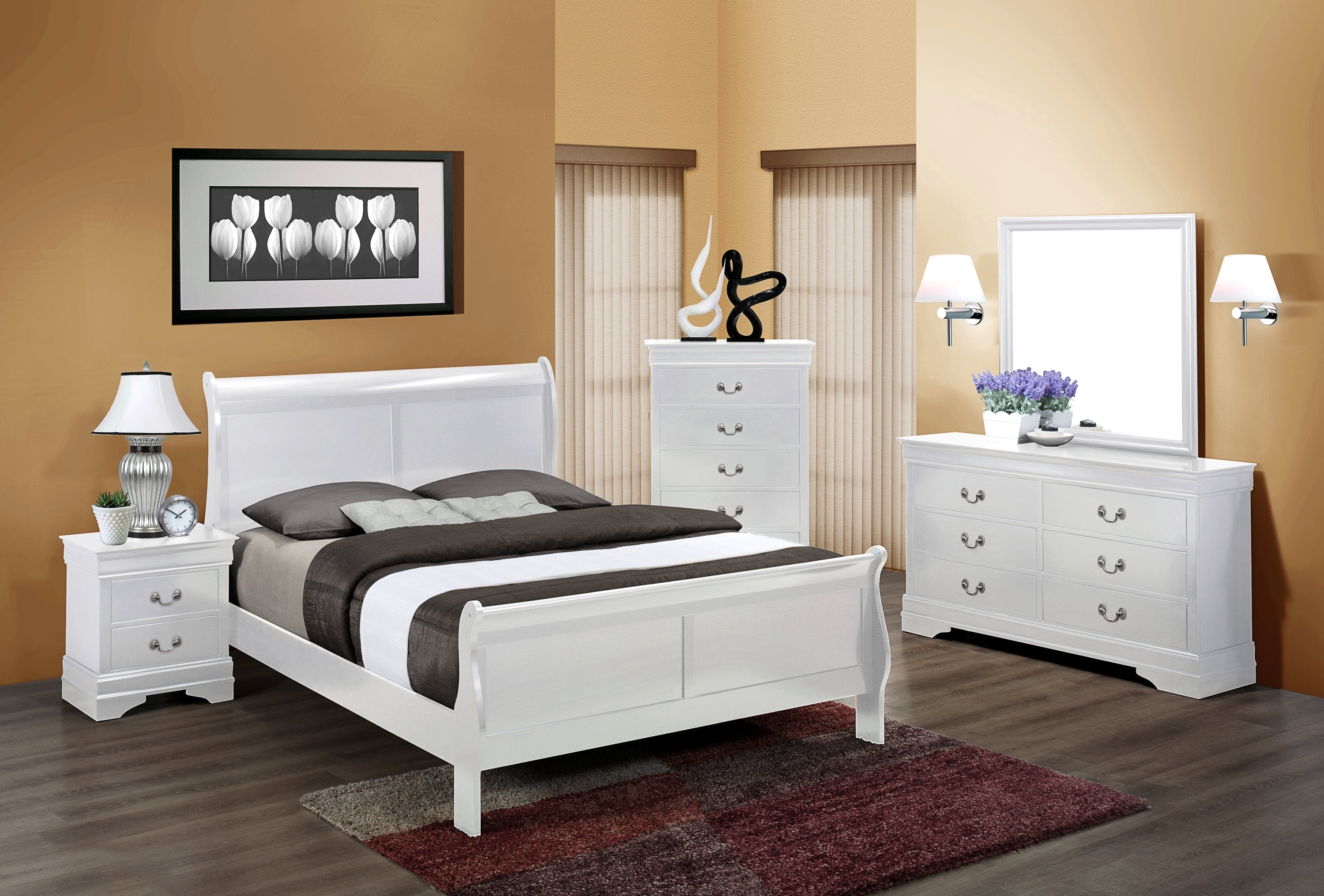 White Full Size Sleigh Bedroom Set My Furniture Place
