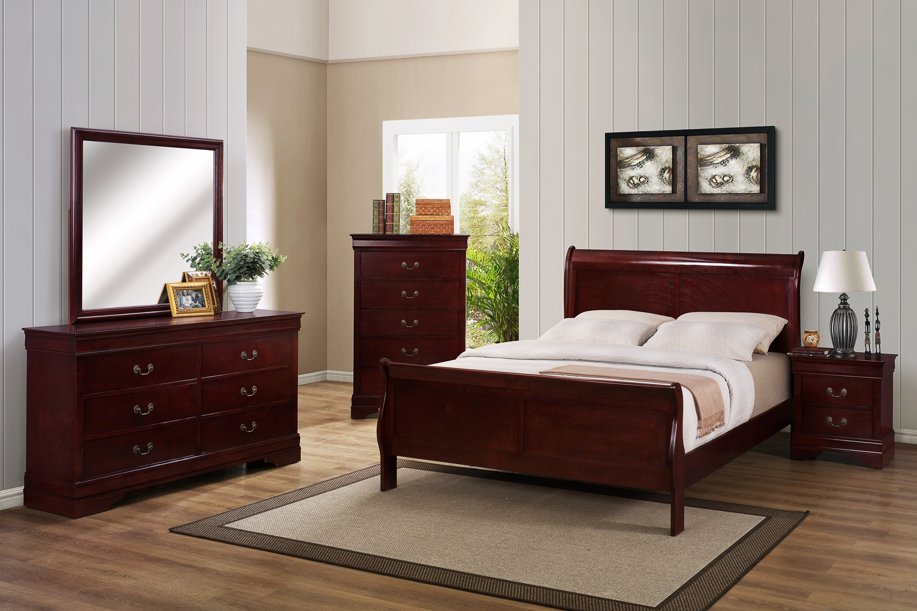 Cherry King Sleigh Bedroom Set