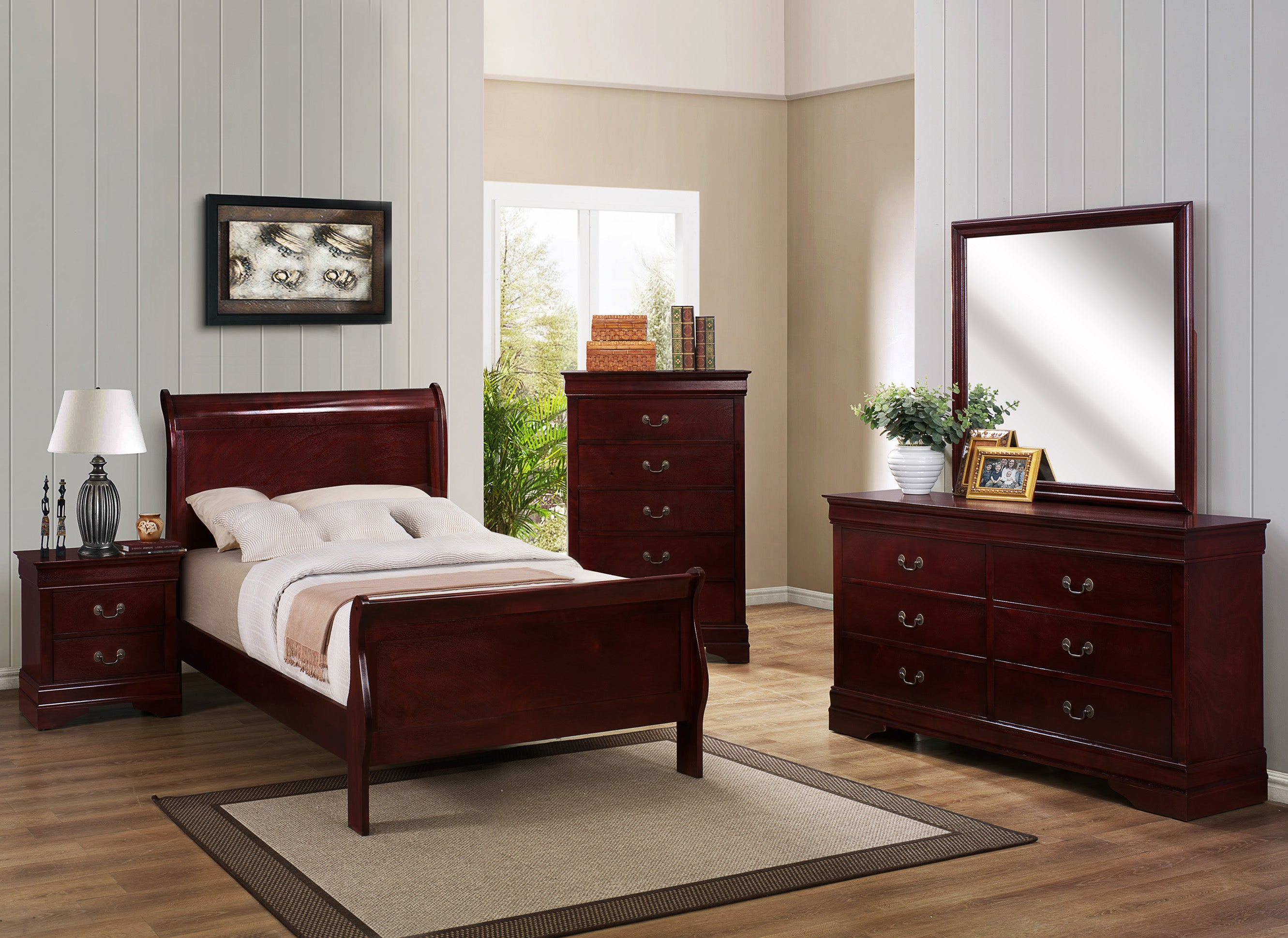 Cherry Twin Sleigh Bedroom Set My Furniture Place