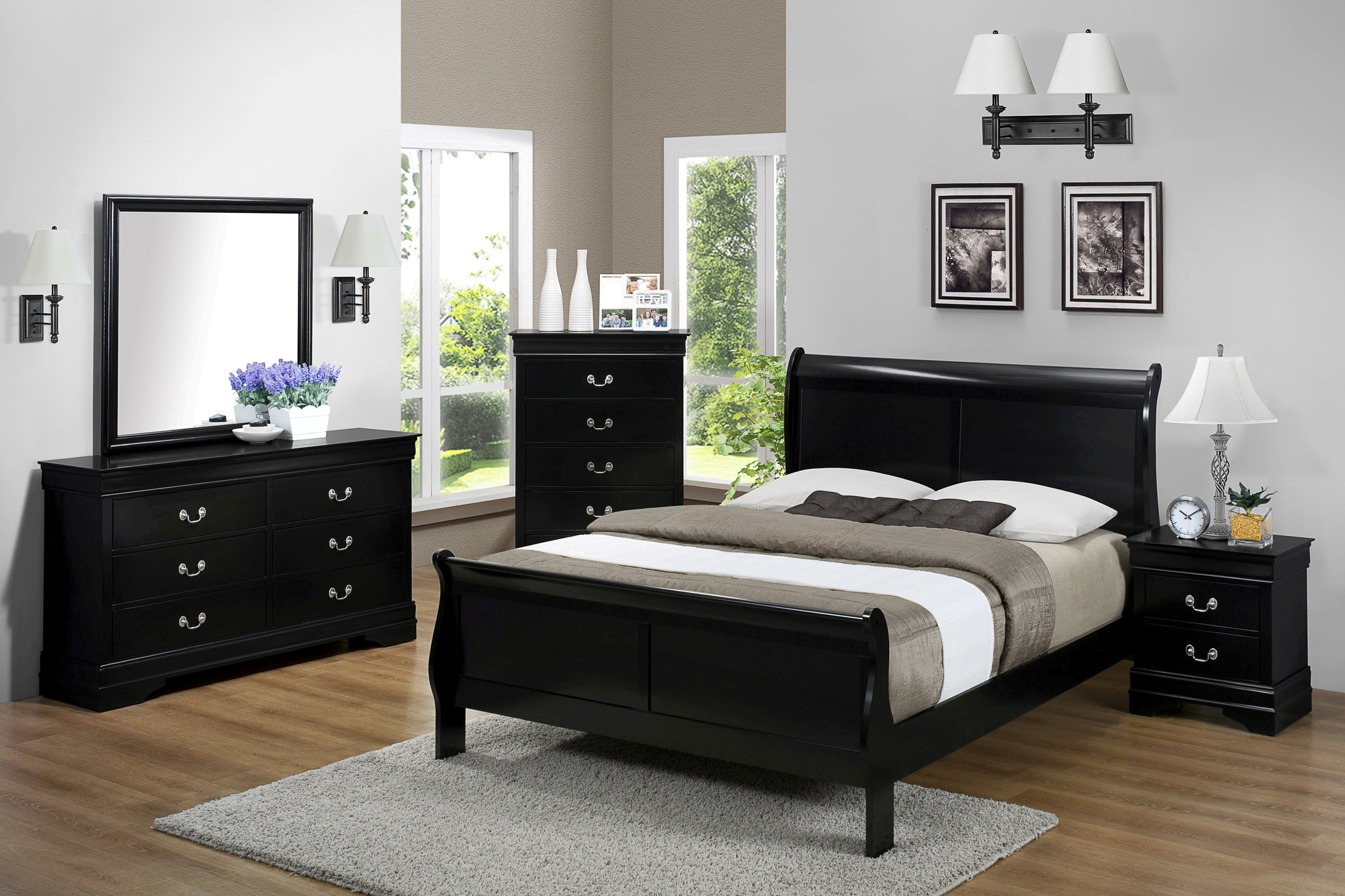 Black Full Sleigh Bedroom Set My Furniture Place