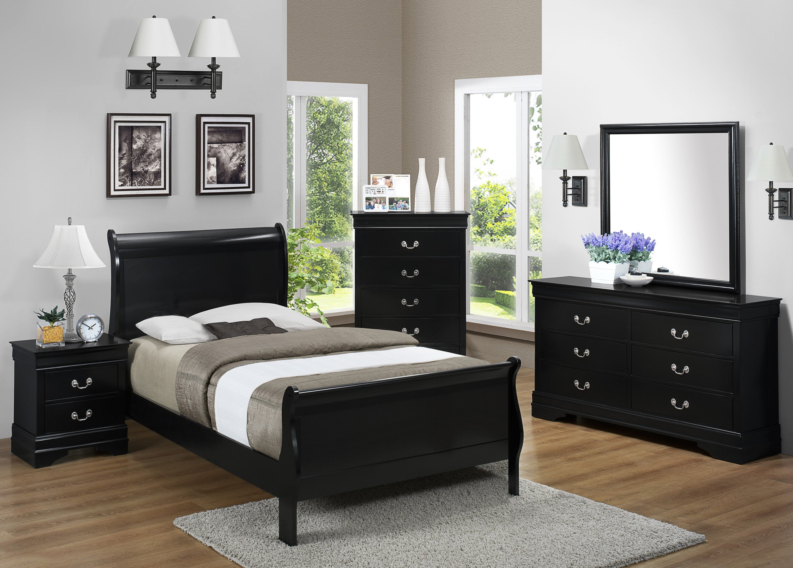 Black Twin Sleigh Bedroom Set