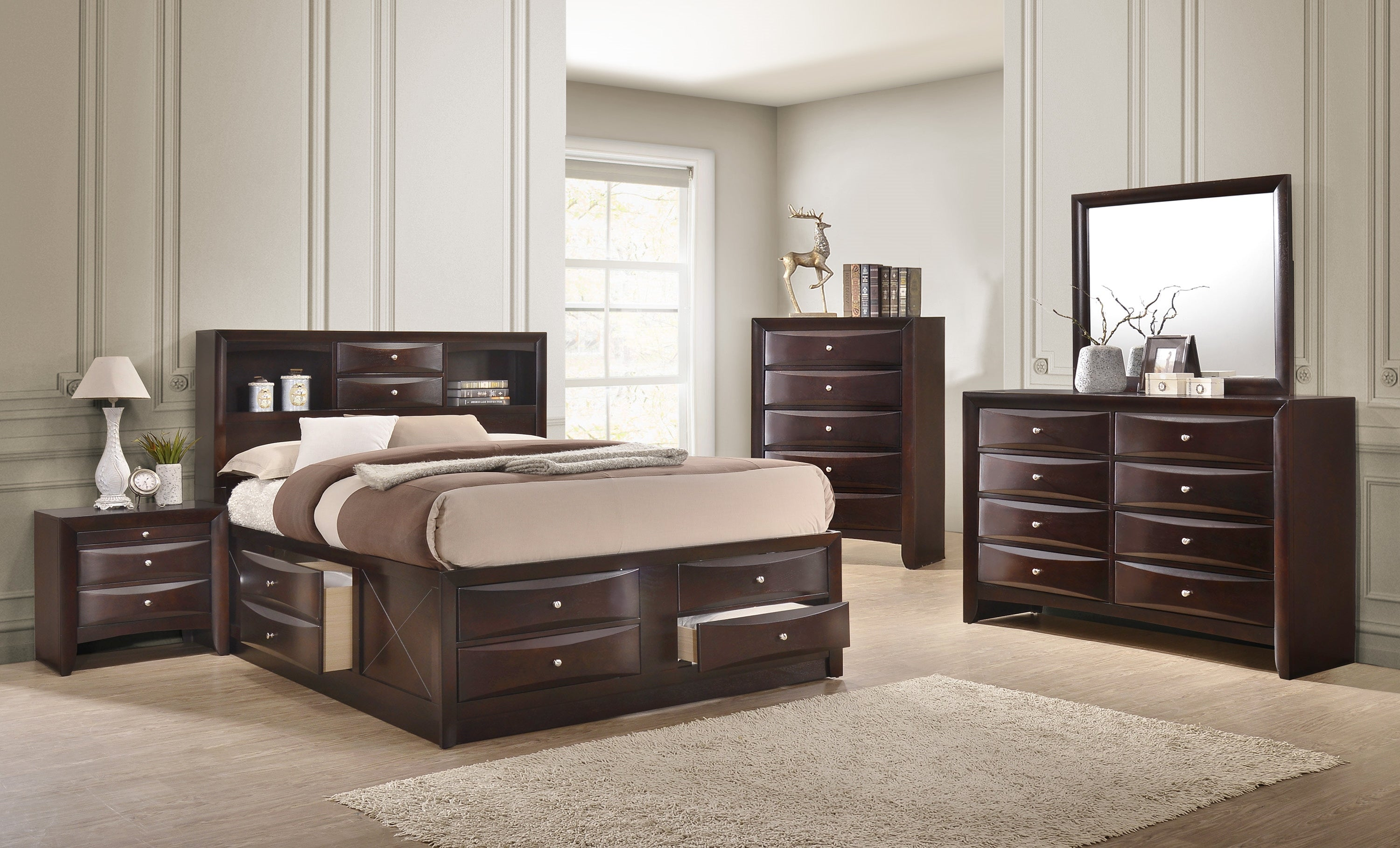 Emily Captain Cherry King Bedroom Set