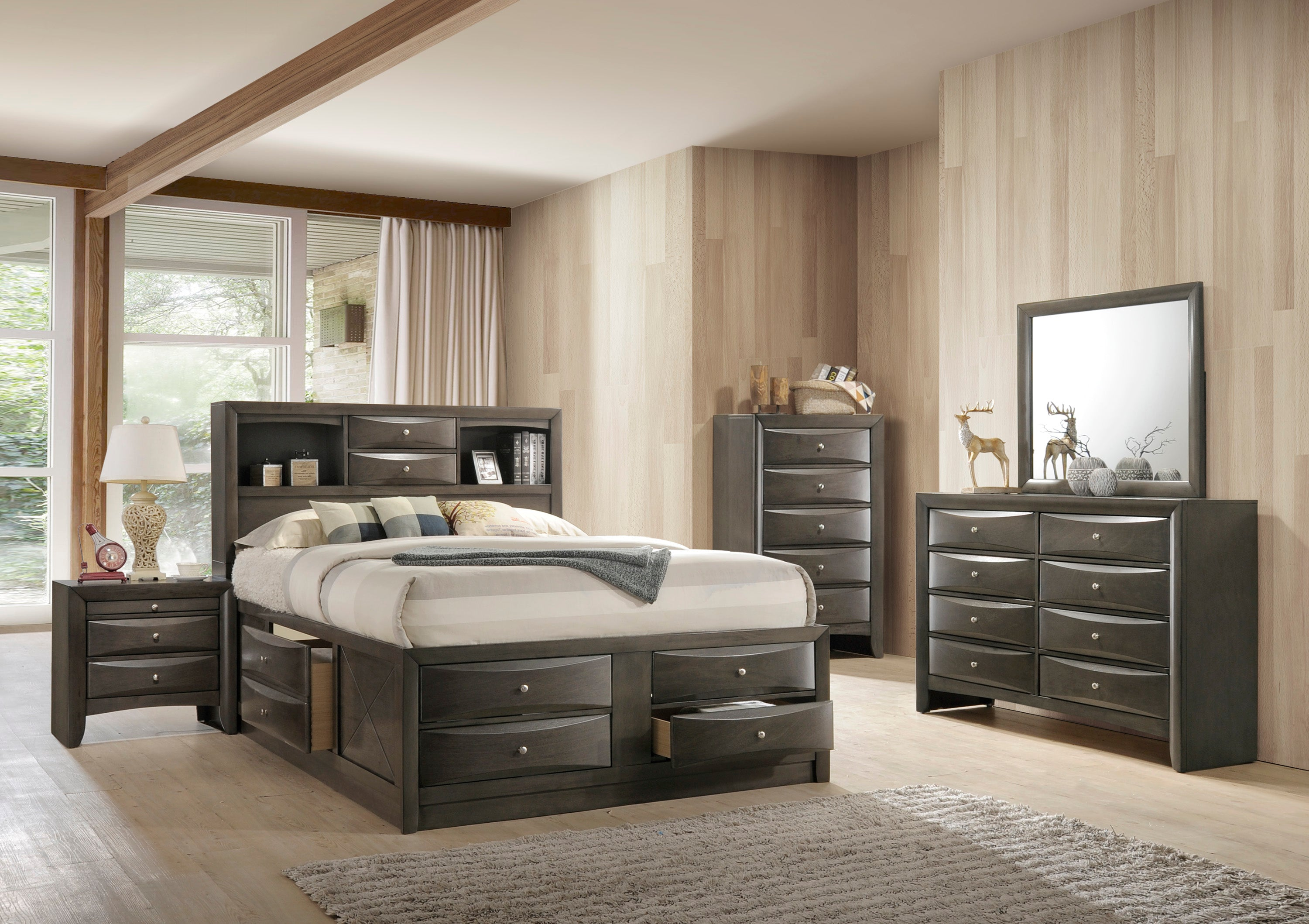 Emily Captain Gray King Bedroom Set
