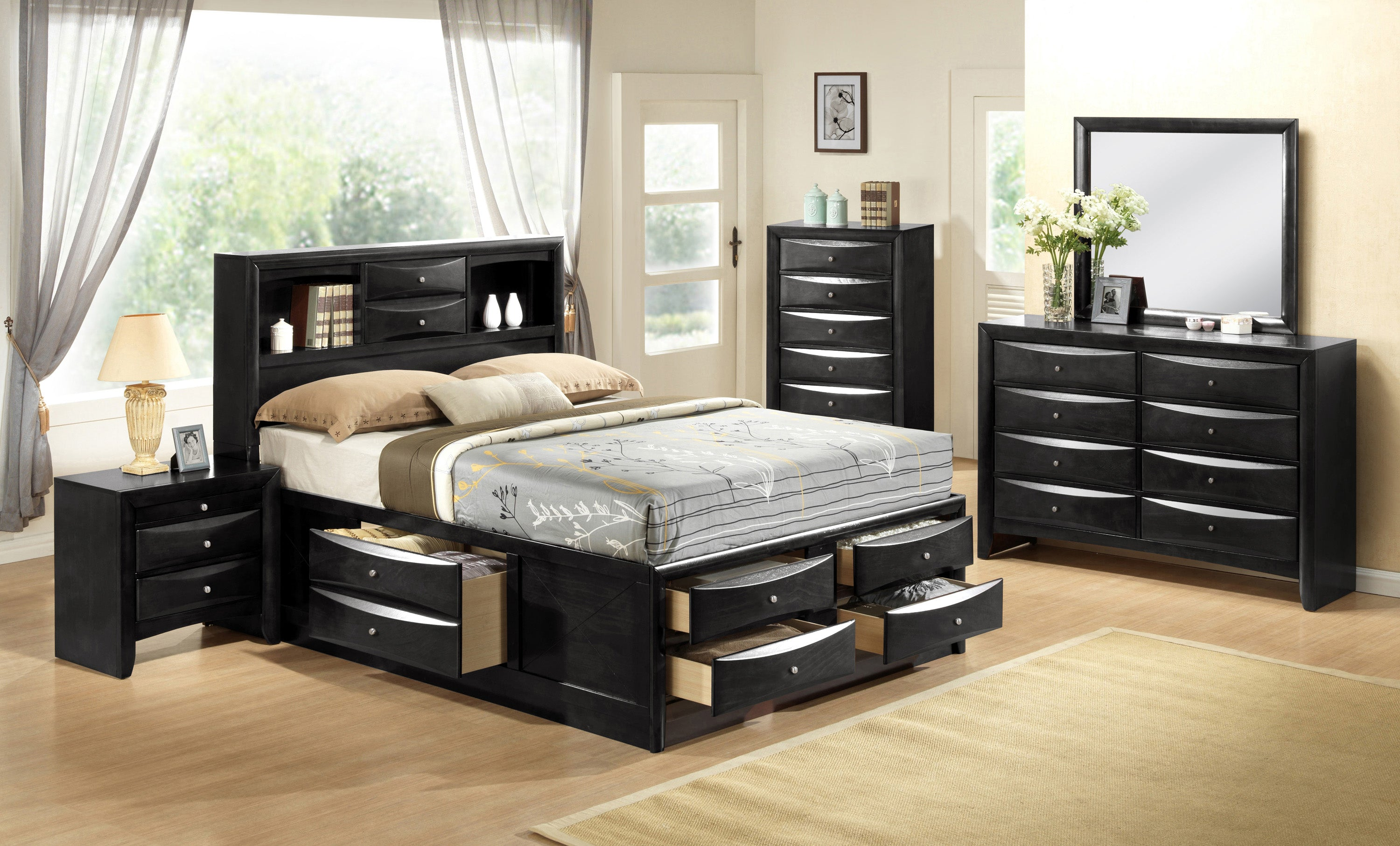 Emily Captain Black Queen Bedroom Set