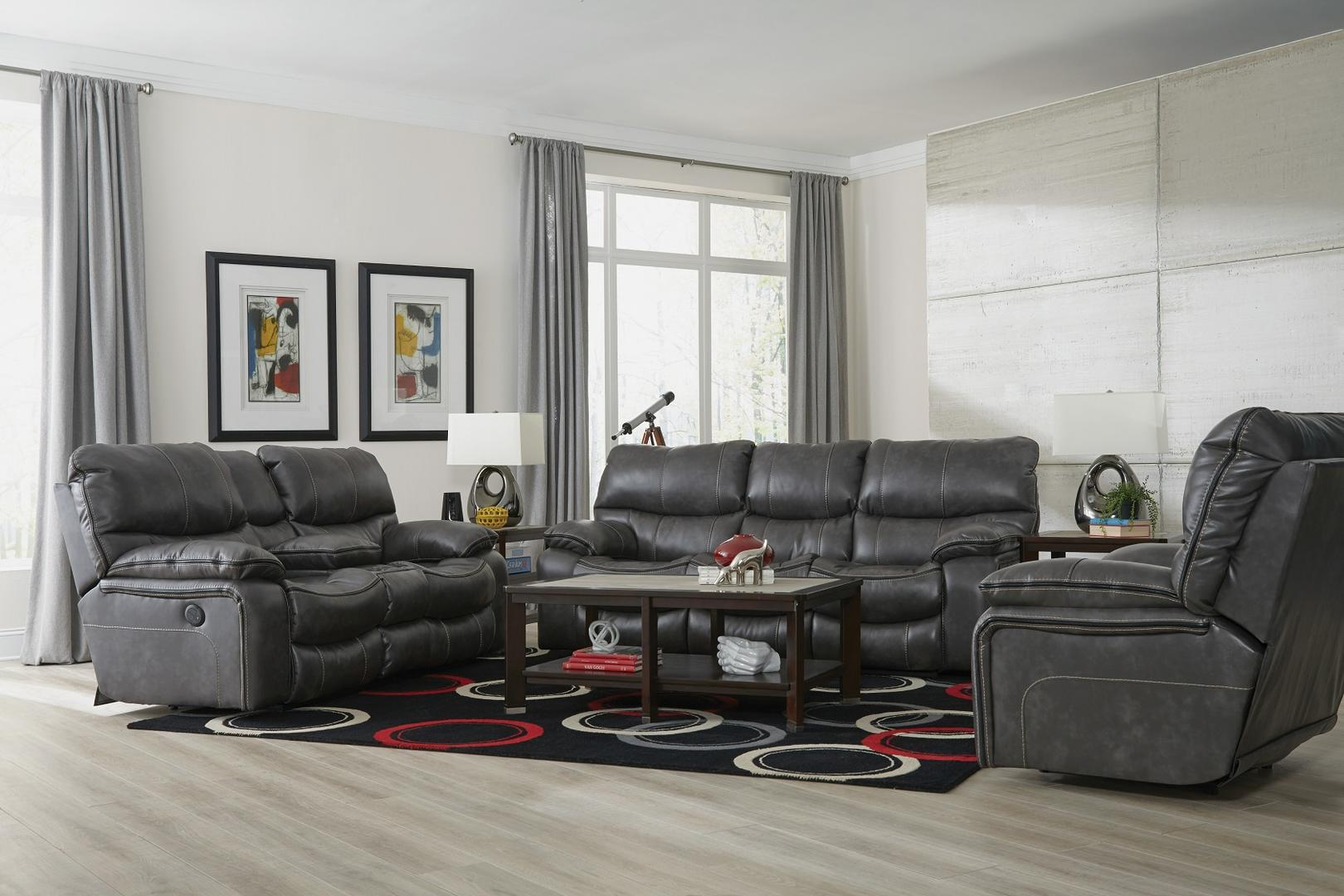 Catnapper Camden Gray Reclining Sofa and Loveseat