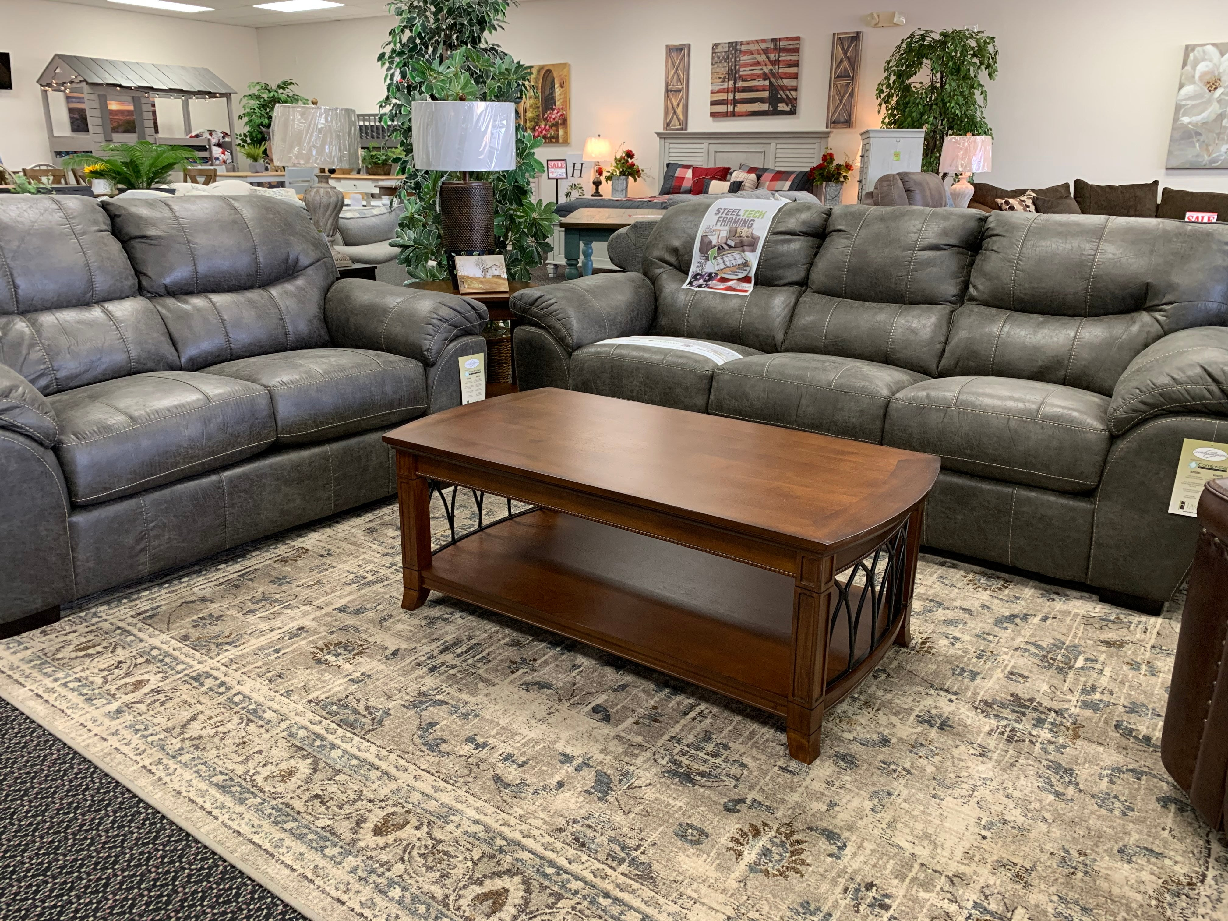 Grant Steel Gray Sofa and Loveseat