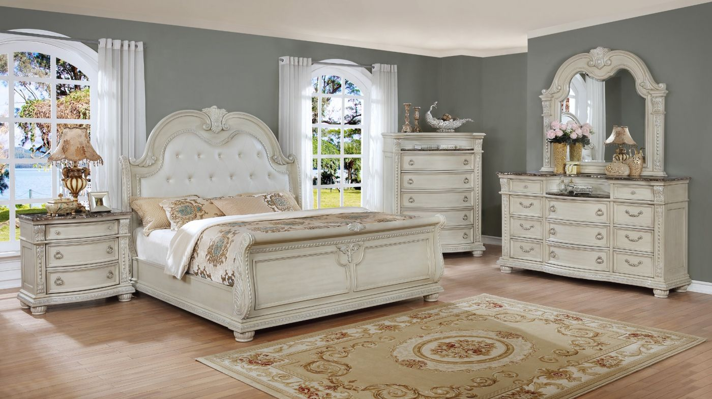 Stanley White King Sleigh Bedroom Set | My Furniture Place