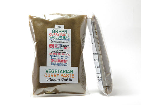Vegetarian green curry paste in vacuum bag