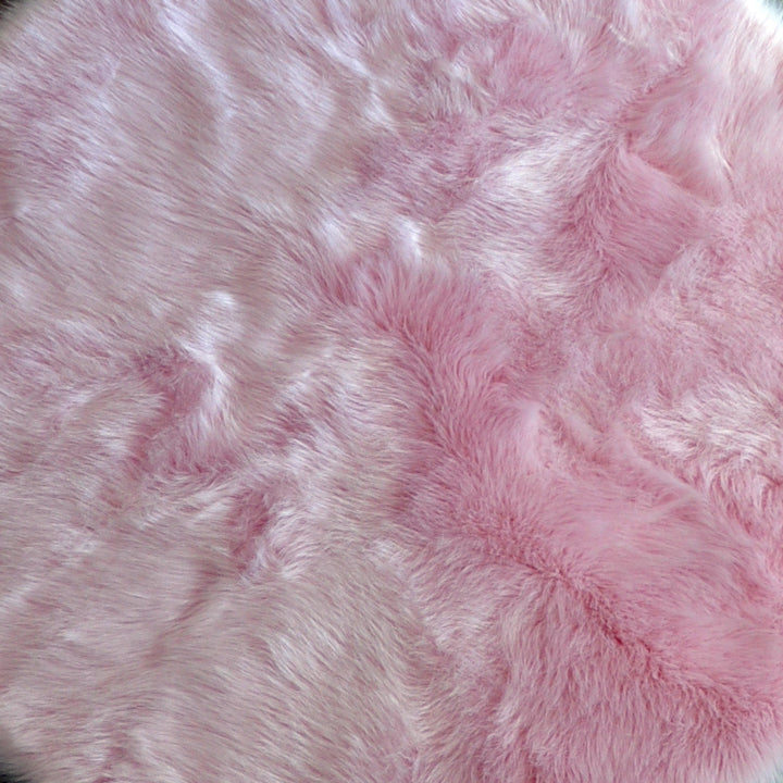 Machine Washable Faux Sheepskin Cotton Candy Pink Area Rug