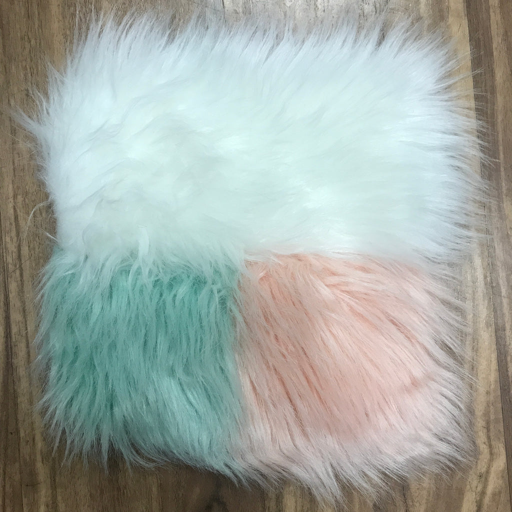 "Faux Sheepskin 8"" x 8"" sample - Bundle (White, Mint, Blush/ Peach)"