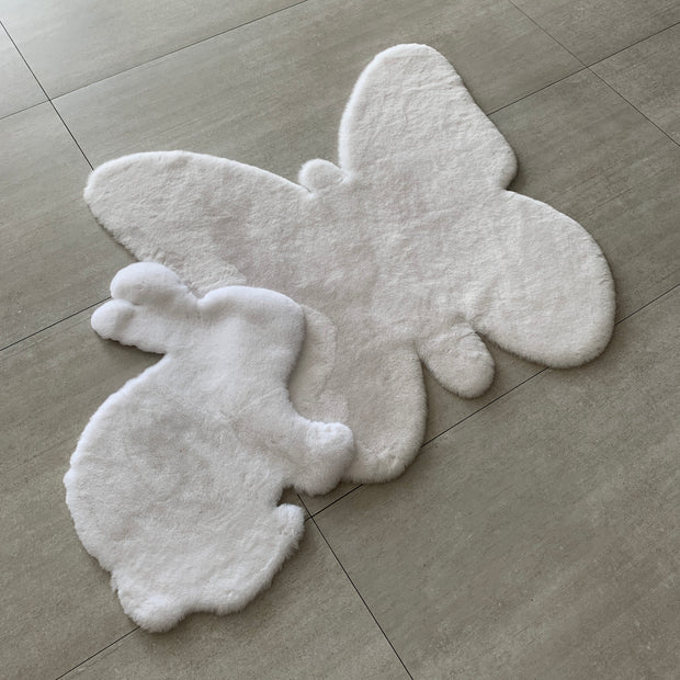 NEW! Machine Washable Faux Rabbit Fur Butterfly Area Rug 1