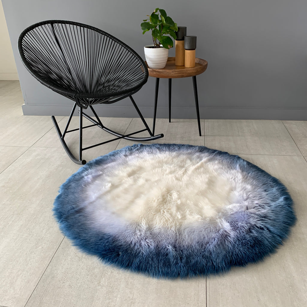 NEW! Machine Washable Faux Sheepskin Ombre Blue/White Round Area Rug