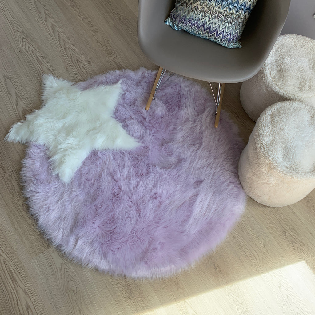 Machine Washable Faux Sheepskin Round Lavender Area Rug