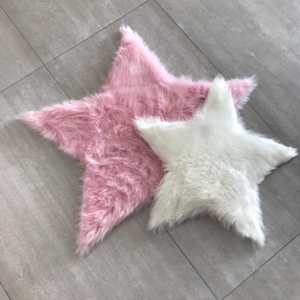 Machine Washable Faux Sheepskin Cotton Candy Pink Star Area Rug
