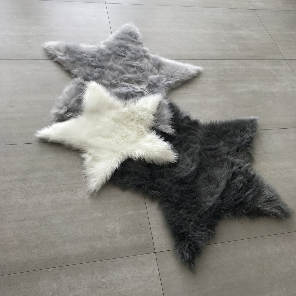 Machine Washable Faux Sheepskin White Star Area Rug
