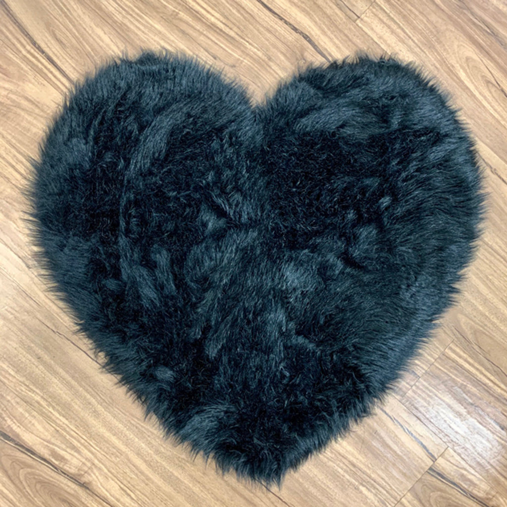NEW! Machine Washable Faux Sheepskin Black Heart Area Rug
