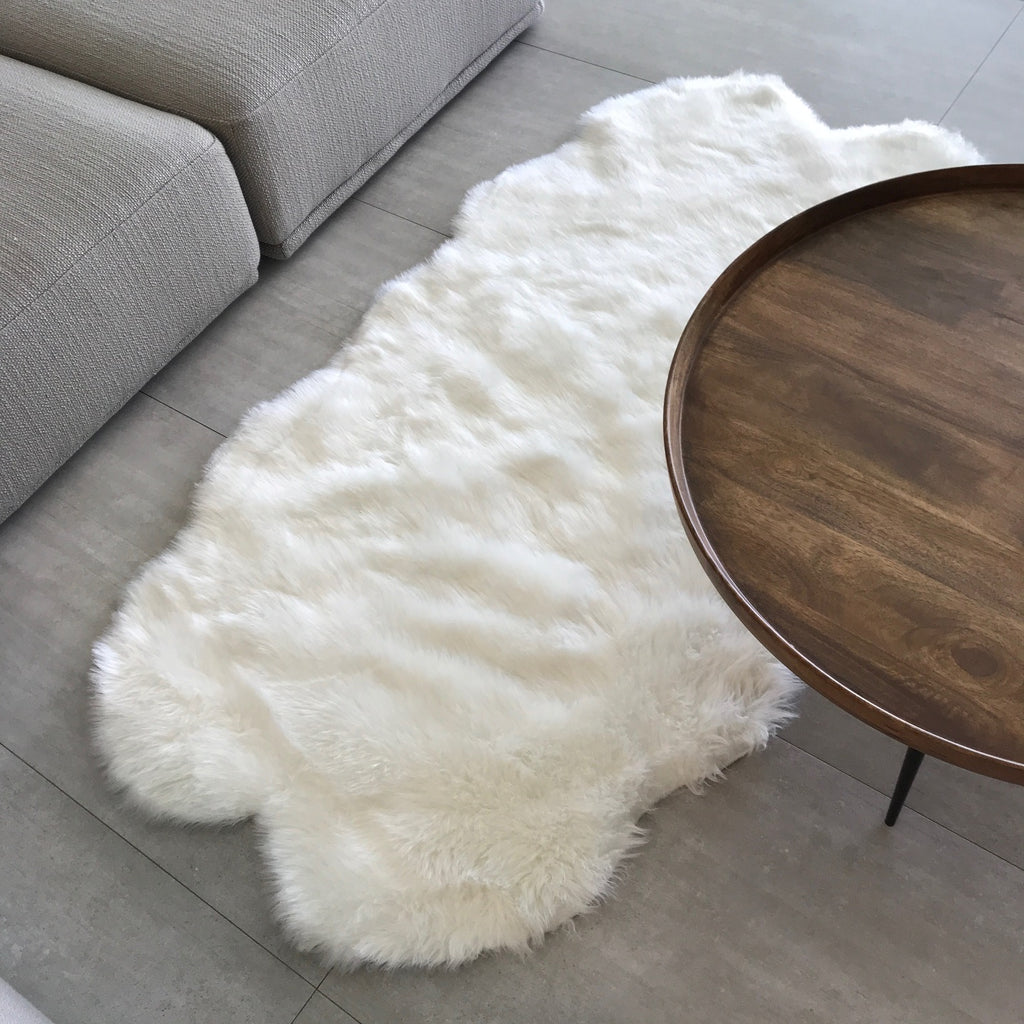 NEW! Machine Washable Faux Sheepskin White Double Area Rug