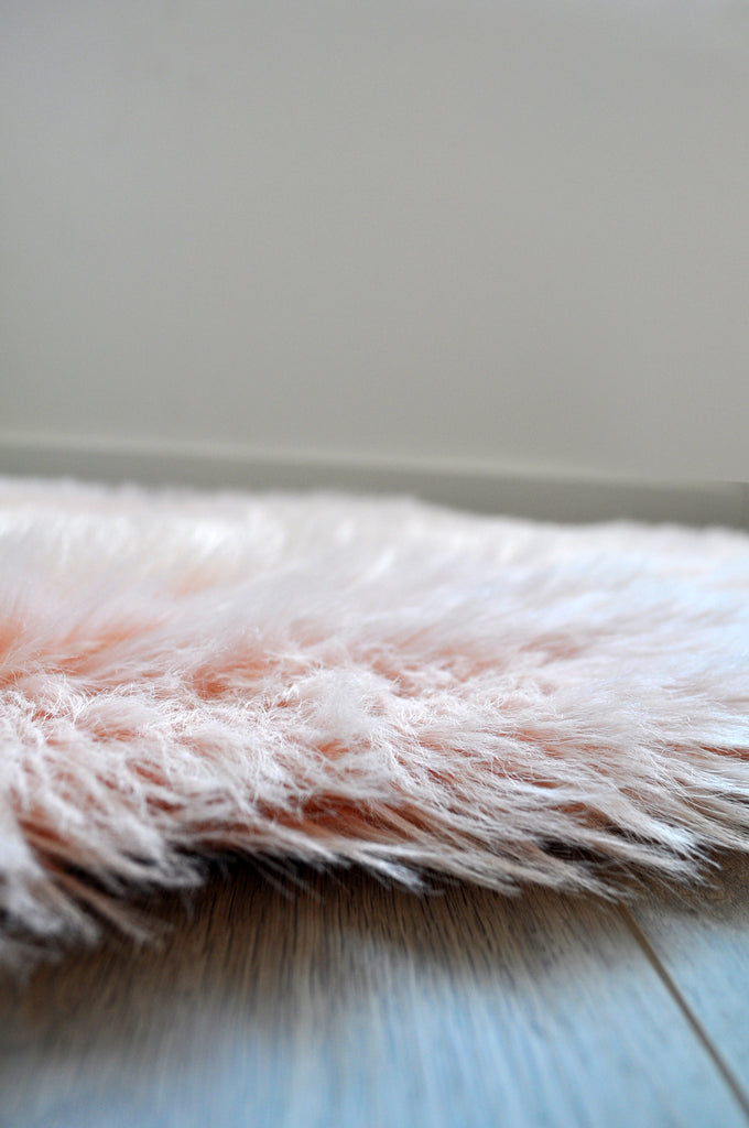 Machine Washable Faux Sheepskin Blush Cloud Area Rug