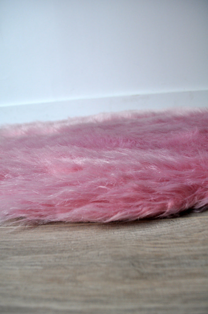 Machine Washable Faux Sheepskin Vintage Pink Area Rug