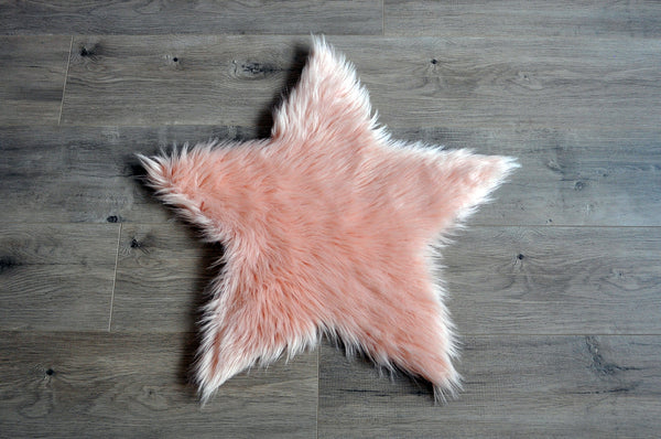 Machine Washable Faux Sheepskin Blush Star Area Rug