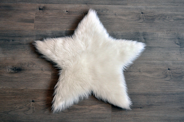 SAMPLE Machine Washable Faux Sheepskin White Star Area Rug