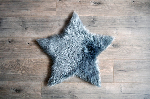 SAMPLE Machine Washable Faux Sheepskin Grey Star Area Rug